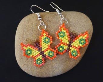 Orange butterfly earrings Beaded butterfly jewelry Beaded boho style Monarch butterfly art Orange butterflies Orange earrings Beaded earring