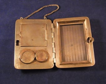 Antique Gold Coloured Metal Coin, Card and Stamp Case circa 1900s Antique Card pouch Edwardian Metal Stamp Purse/Wallet with Chain