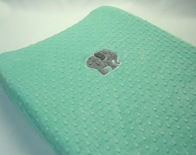 Minky Changing Pad Cover with Elephant Applique