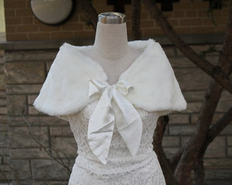 Ivory faux fur bolero faux fur shrug Wedding bolero wedding jacket bridal bolero bridal jacket wedding shrug wedding jacket