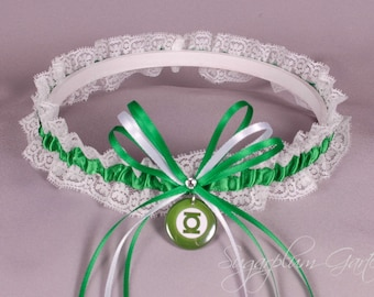 Green Lantern Lace Wedding Garter - Ready to Ship
