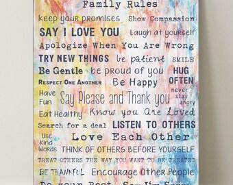 "Canvas ""Family Rules"" 75x100 cm text, fonts, art-decoration"
