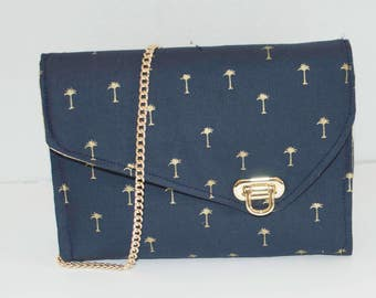 Golden Palms and Navy Clutch Handbag