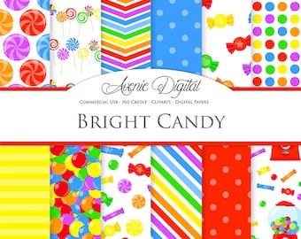 Bright Candy Digital Paper. Scrapbook Backgrounds, Cute sweet tooth patterns Commercial Use. Sweets dessert candies lollipop gum drop
