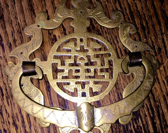 Chinese Longevity Symbol Furniture Handle or Oriental Brass Doorknocker Ornate Vintage Chinese Door Knocker