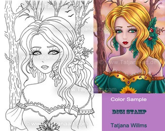 In the forrest - Fantasy Coloring Sheet Digi Stamp Adult Coloring autumn with Trees Leaves Sunflowers Girl