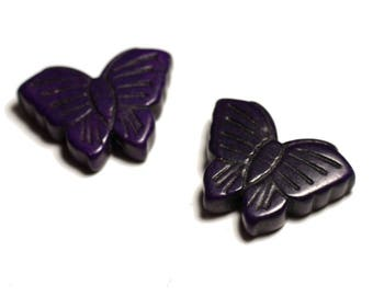 2PC - butterflies purple 4558550029386 26mm synthetic Turquoise beads