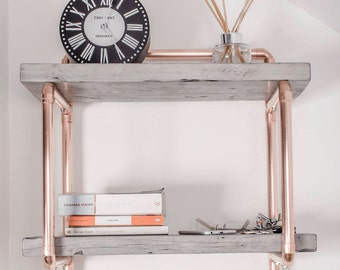 Small double shelf unit handmade from copper pipe and reclaimed wood