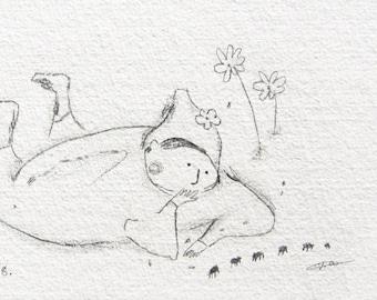 original nature drawing, whimsical pencil illustration, simple line drawing, meditation, peace, natural ORIGINAL sketch