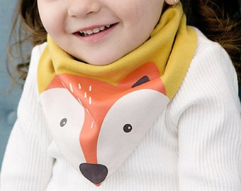 Fox and Village - Baby Toddler Dribble Bib Bandana Recycled Cotton Reversible Mustard Orange and White - Adjustable Snaps