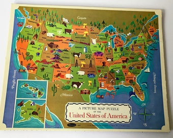 Colorful Vintage U.S. Map Jigsaw Puzzle // United States Geography Retro Illustration // Kids' Picture Map Puzzle of America // Kids Decor