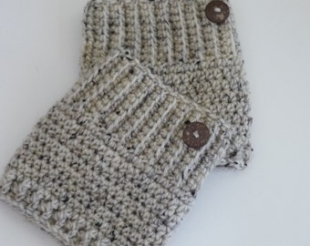 Crochet Boot Cuffs Button Accent Crochet Boot Topper Leg Warmer in Oatmeal - Ready to Ship  - Direct Checkout - Gift for Her