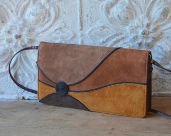 Vintage Brown Suede And Leather Convertible Handbag, Brown Suede Clutch, Suede Shoulder Bag, Retro 1980's Purse
