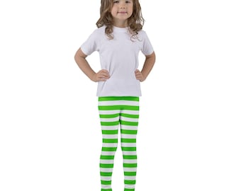 Strawberry Shortcake Vintage Style Dress-Up Costume Cosplay Kid's Leggings - Green & White Stripes