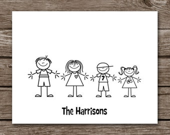 PRINTABLE Stick Family Note Cards, Stick Family Cards, Family Note Cards, Family Cards, Personalized Note Cards,