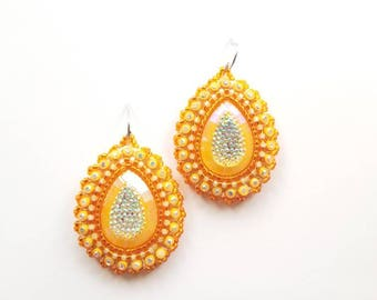 Orange & Yellow Raindrop Beaded Earrings