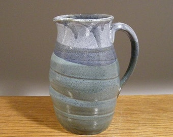 Handmade Stoneware , Serving Pitcher , Blue Pitcher , Water Pitcher , Pottery Pitcher , by Jon Whitney Pottery