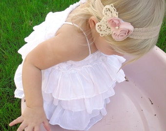 Angel Whispers - Pink Rosette Flowers - Pearl - Vintage Style - Lace Headband - Girls Newborns Baby Infant Adults