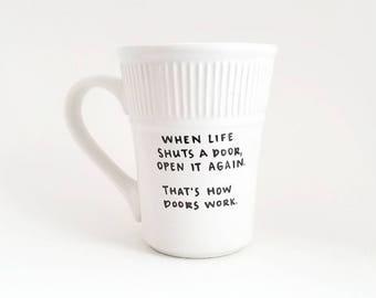 Leven mok | Sarcastische mok | Grote mok | Upcycled mok | Grappige mok | Citeer mok | Cadeau idee | Keramische koffie thee mok | Vaderdag cadeau