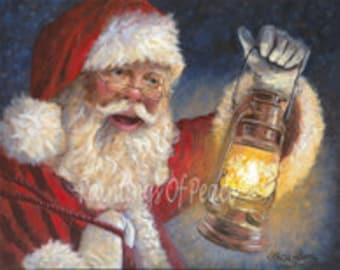 Santa - Claus - Christmas - Lantern - 11 x 14 - Print