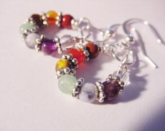 7 Chakra Earrings, Wire Wrapped, Gemstones,Healing Jewellery, Chakra Jewelry, Reiki Jewelry