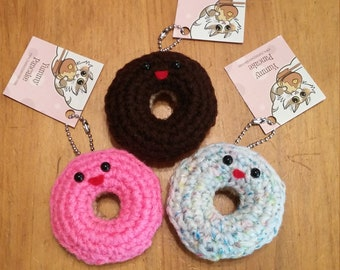 Donut Mini Plush Keychain or Ornament - Your choice of color