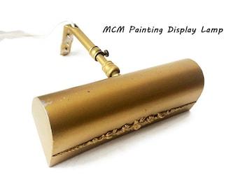 Picture Display Vintage Light Fixture / MCM Brass-Look Frame Mounted Lamp for Artwork/ Industrial Lighting/ Standard Size