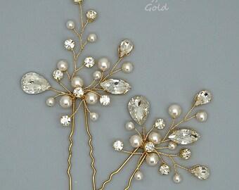 Gold Wedding Hair Pins Gold Bridal Hairpins Crystal Hair Pins Wedding Hair Accessories, Gold Bridal Headpiece, hair jewelry
