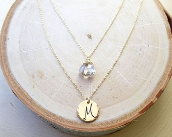 Personalized birthstone double necklace layering set of two necklaces white topaz April birthstone script font initial disc charm customize