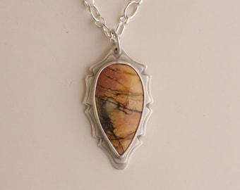 "Jasper pendant, Picasso jasper and sterling silver pendant with 20"" chain, #668."