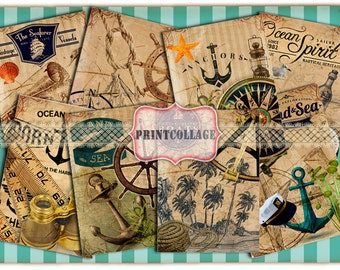 Digital Collage Sheet Designed Gift Tags and Cards for Scrapbooking Printable Vintage Paper for Jewelry Holders Journaling Tags Nautical T23