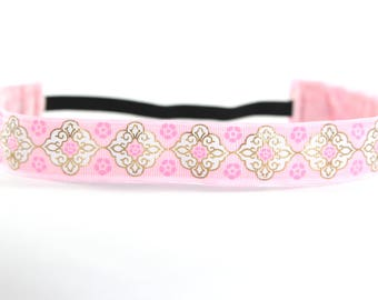 Pink Headband, Nonslip Headband, Valentine's Day Gift for Her, Pink Hair Accessory, Yoga Headband, Gold Foil Medallion, Pretty in Pink