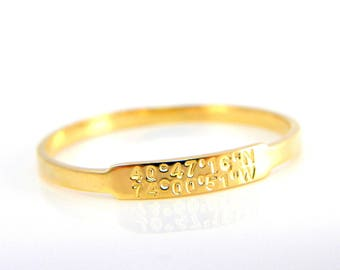 Dainty Coordinates Gold Ring Stackable Band Latitude Longitude Ring Personalized Location Jewelry Location Ring Custom ring stacking ring