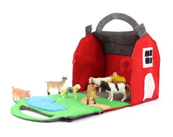 Barn Sewing Pattern, Red Felt Barn Hand Sewing Pattern, Felt Barnyard Pattern, Instant Download