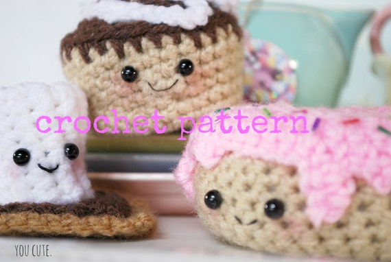Amigurumi Food : Crochet pattern amigurumi sweet toof trio crochet donut crochet