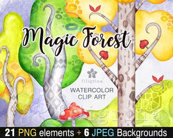 MAGIC FOREST watercolor Clip Art. Nursery nature decor, trees, mushrooms, hills, woodland. Kids Invite, pattern background. Read about usage