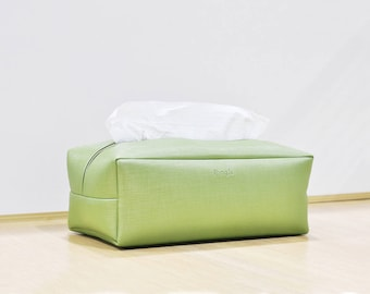 PU Leather Tissue Box Cover,  Rectangle Tissue Box Holder, Facial Tissue Case, Soft Touch, Greenery