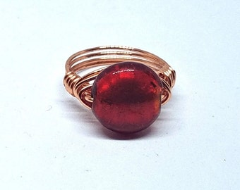 Red Ring, Boho Chic Ring, Gift for Her, Copper Ring, Lampwork Glass Statement Ring, Gifts for Women, OOAK Boho Jewelry, Red Glass Ring