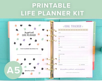 Printable Planner Inserts | Printable Life Planner | 2018 Planner | A5 Planner Inserts