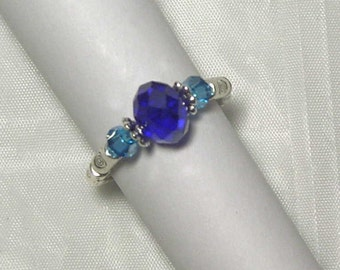 "Cynthia Lynn ""RHAPSODY"" Cobalt and Aqua Blue Crystal Silver Stretch Ring"