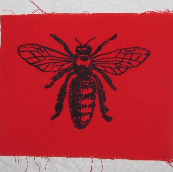 Honey bee patch black ink on yellow fabric bee patch honey bee patch black ink on yellow fabric bee patch silkscreen screenprint drawing diagram insect bug critter punk animal patch honey ccuart Images