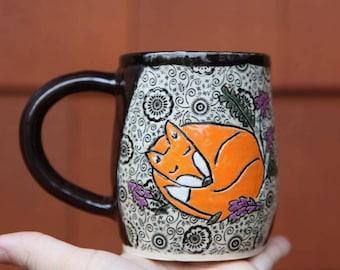 Stoneware Fox Mug with Floral Pattern Glaze