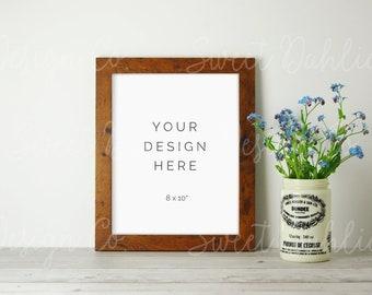 Rustic Frame Mockup, Digital Print, Stock Photo, Wall Art Mockup, Product Mockup, Farmhouse Style, Mock Up, White Frame, Floral Mockup, 8x10