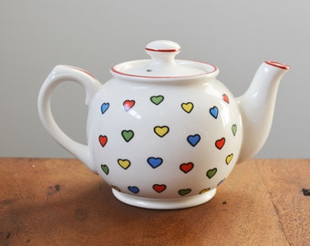 Sweet Sadler Hearts teapot; Made in Staffordshire England - multi-coloured hearts on white ceramic