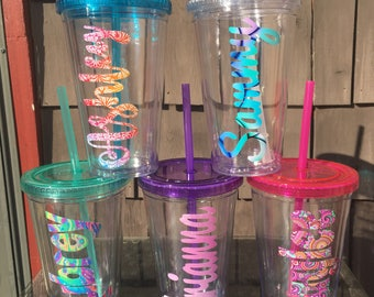 Personalized Tumbler With Straw, Lidded Tumbler, Drink Tumbler, Personalized Dink Cup, Bridesmaids Gift, Office Gift, College Dorm Gift