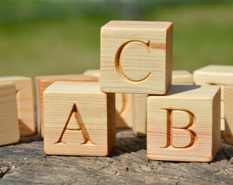 2'' large 26 Wooden Alphabet Block English ABC Blocks Back to School Personalized Engraved Letter Cube,  Birthday or Baby Shower Gift