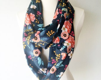 Navy Blue Rifle Paper Co Floral Rayon Infinity Scarf - Handmade - For Her, Spring Fashion, Mother's Day, Summer