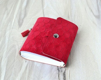 Leather notebook Small journal Red notebook Hand bound journal Pocket notebook Password book Blank book Suede notebook leather diary notepad