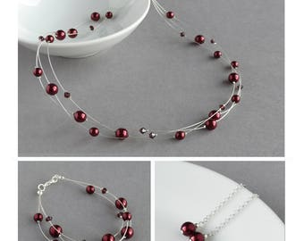 Burgundy Floating Pearl Jewellery Set - Dark Red Multi-strand Necklace, Bracelet and Drop Earrings - Bridesmaids Gifts - Wedding Jewellery