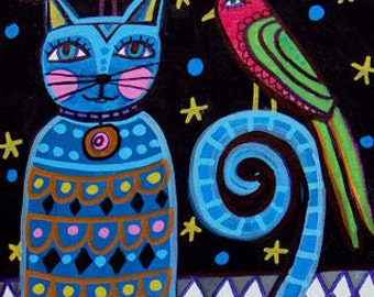 50% SALE- Blue Cat Art Poster Print of Painting  Heather Galler